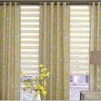 Living Room- Horizontal Sheer Shades & Curtains - Horizontal Sheer Shades or Venetian Blinds are not only attactive but extremely functional for light sensitive spaces. If light control is important to you then these are the shades for you. The slats can be tilted open and close to maximize and minimize the light streaming into your space.