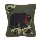 Chandler 4 Corners - Merry Black Bear Hooked Pillow - Rustic reverie, rich textures and outdoor-inspired details define our Cabin Fever Pillow Collection. Out from hibernation to say ���Merry Christmas�, our wonderful Christmas Bear is rendered in a stunning array of seasonal colors.