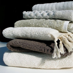 Comforting and Luxurious Bath Details - Nandina Organics handmade organic cotton towels, the Heirloom Collection.