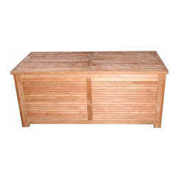 Regal Teak - Regal Teak Deck Storage Box - R070 - Shop for Sheds and Storage from Hayneedle.com! When you use the Teak Deck Storage Box for storage by the pool or garden you can finally say goodbye to molded plastic storage bins that are made in the same way they make children's toys. A solid teak body with heavy-duty brass hardware will weather the worst that nature can throw at you while you keep your gardening supplies or beach towels organized and discreetly out of sight; louvers on 3 sides provide ample ventilation. About Regal TeakRegal Teak provides their customers with the finest teak furniture available today. Every piece of lumber they use is sustainably harvested from plantations in Indonesia and kiln-dried. Regal Teak pride themselves on using traditional methods of construction and craftsmanship with the highest quality materials in a manner that is responsive to their customers' needs and environmentally responsible. Using this approach Regal Teak produces a full line of tables chairs benches lounges and storage furniture.