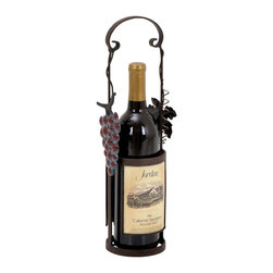 "Benzara - Wine Holder Decorated with Vine and Tendril accents - Chic and stylish, this Metal Wine Holder offers versatile usage as a wine holder and a caddy. Crafted to perfection, the wine holder is decorated with a vine and tendril accents, which elevate the design aesthetics and charm table settings. Stylish curves and graceful swirls give a delicate look to the wine holder and augment the simple design for a classic, quaint look. A perfect addition to all formal and casual table setups, this wine holder can also be used to display the best bottle from your collection. This wine holder will do justice to your home bar, and get you compliments from your guests. Stylish and easy to maintain, this one is worth investing in. This designer wine holder can also be gifted to someone who likes to collect classic and unique wines. Designed from metal, this wine holder has a sturdy, lightweight frame and has a secure handle for a firm grip.; Use as wine holder and caddy; Sturdy, lightweight frame; Decorated with a vine and tendril accents; Stylish curves and graceful swirls; Weight: 0.97 lbs; Dimensions:4""W x 4""D x 15""H"
