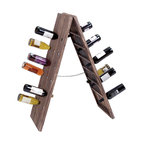 ecWorld - Urban Designs Weathered Wooden Foldable Wine Rack - 36 Bottle Display - Give a rich and authentic look to your wine collection with this aged by the elements collapsible wine rack.