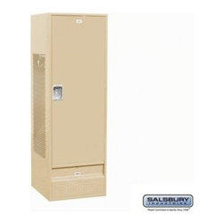 Salsbury Industries - Standard Gear Metal Locker - Solid Door - 6 Feet High - 24 Inches Deep - Tan - A - Standard Gear Metal Locker - Solid Door - 6 Feet High - 24 Inches Deep - Tan - Assembled