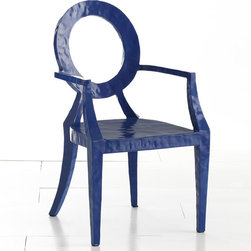 Updated Louis Chair - Blue - During the reign of Louis XVI, design aesthetics in Europe began to change. People shifted from enjoying extravagant, heavily embellished items and traded them for simpler designs and cleaner looks. Similarly, the middle of the 20th century saw a global shift in the same way. This chair is to commemorate this change, a revolution, if you will. Its shape is modeled from the traditional Louis XVI chair with updated details: hammered metal construction, sleek lines, and a bright blue color!