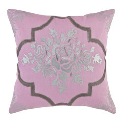vintagemaya - Rosenborg Pillow Cover - Royalty brings images of opulence and extravagance. What could be more extravagant than the royal jewelry collection? Our Rosenborg decorative pillows are inspired by the Danish crown jewels at the Rosenborg Castle, a collection of exotic and exquisite jewels, placed in the Castle basement. The stunning hand embroidered pillow collection has silver embroidery at the centre of a royal light mauve base color. The silver is accentuated by a thick band of brown surrounding it. The 4 corners of these toss pillows for couch with hidden zippers are further embellished with silver embroidery. This attention to detail is what makes the royal difference in our Rosenborg pillow.