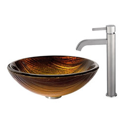 Kraus - Kraus Midas Glass Vessel Sink and Ramus Faucet Satin Nickel - *The layered pattern of the Midas sink creates a dynamic surface for flowing water, while the rich golden tones add a touch of warmth. Pair it with the minimalist form of the Ramus faucet in satin nickel for a soft sheen and a look of refined simplicity