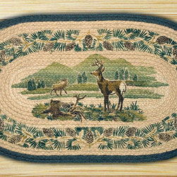 Earth Rugs - 740 White Tail Deer Hand Print Oval Rug 20in.x36in. - White Tail Deer Hand Print Oval Rug 20 in. x36 in.