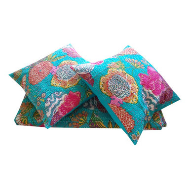 Indian Kantha embroidered cushion covers -Turquoise - These striking Kantha stitch cushion covers are printed in a vibrant tropical fruit and floral design. These exotic cushion covers will bring colour and ethnic appeal to your home. Matching item for Kantha Stitch printed throw/bedspread.     100% Cotton