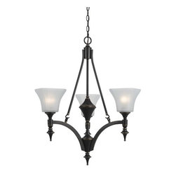 Cal Lighting - Cal Lighting FX-3541/3 3 Lights Rockwood Iron Chandelier With Glass Shade - Features: