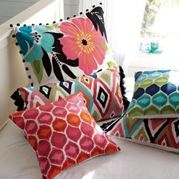 Ikat Dot Pillow Cover - There are some great patterns and colors in these pillows. I think we sometimes forget to look at sources like Pottery Barn Teen for our grown-up tastes.