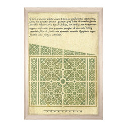 Theodore Maze 1 - Framed Print - Antique calligraphy and a scaled rule advertise the ephemeral nature of the work reproduced in Theodore Maze 1, a reprint of an early formal garden layout by prolific sixteenth-century illustrator Theodore de Bry. Framed in whitewashed wood, the plan shows a beautiful repeated flower design used for a French estate garden, the harmonious symmetry illustrated in a soft green.