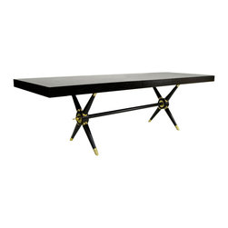 """Jonathan Adler - Jonathan Adler Ventana Dining Table Black - Jonathan Adler's black Ventana dining table turns the classic picnic design into a statement of posh luxury. Criss-crossed legs are amplified by contemporary brass accents and circular embellishments, giving this timeless furnishing a trendy spin. 76""""W x 38'D x 29""""H (without leaf); Includes one 18""""W leaf; Ebonized wood; Antique brass accents; Assembly required"""