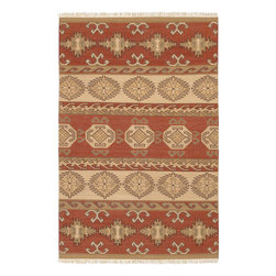 "Jewel Tone II JTII-2025 Red/Coral Blend Rug - 2'6""x8' - Jewel Tone II JTII-2025 Red/Coral Blend: Traditional rugs inspired by Persian rugs, Antique Oriental rugs or other traditional area rugs are available now. ModernRugs. om is now also featuring traditional rug designs. Traditional Persian and Oriental rugs from ModernRugs. om are now available in a variety of colors and styles, and complement any space. Our traditional Persian rugs provide an elegant look. These Traditional antique Oriental rugs are timeless and add a touch of class to your home. This Southwestern area rug is Hand Woven in India with 100% Hard Twist Wool. The specific colors of this rug include Red/Coral Blend, Beige, Tan, Brown, Emerald. he primary color of this rug is red."