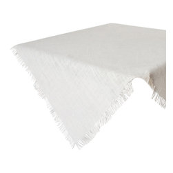 """Saro - Fringed Burlap Placemat, Ivory - 13x19"""" - Set of 4 - Style the table in burlap, because burlap never gets old. Available in all natural colors as well and vibrant hues."""