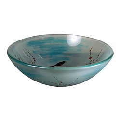 Yosemite Home Decor - Cherry Blossom Round Glass Basin - Light blue semi-translucent bowl with hand painted cherry blossom design