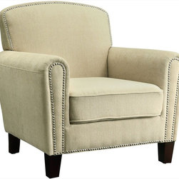 Coaster - Accent Chair, Beige - This accent chair will add an elegant and sophisticated look to any room. With decorative nailhead trim, ample seating space and sturdy wood legs. Wrapped in a smooth beige fabric.