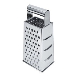 Berghoff - Berghoff 4-Sided Grater - You may be on the path to culinary greatness with this top-notch grater. Made of high-quality stainless steel, it features four sides for grating, shredding and slicing; a wide base and a comfortable rolled handled. Know what's even greater? It can pop right into the dishwasher for easy cleaning.