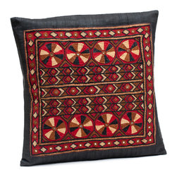 "Sitara Collections - Heirloom Tribal Jat Hand-Embroidered Raw Silk Cushion Cover, 16"" X 16"" - An instant Pick-Me-Up for Living areas or Bedrooms, this Heirloom Pillow Cover Transforms Your Space in a Matter of Minutes. the Motifs Feature Both Neutral and Bright Hues That Will Work with any Decor, While their Notice-Me Designs add the Perfect Hint of Spice. Embroidered Pillow Cushioms are Handmade by Women of Tribes in Kutch, india: Red Silk Cushiom Cover: Tribal Jat Embroidery and Mirrors are Set in Rows and Columns against a Red Silk Backdrop and is a Technique That is Both Precious and Rare. Colors: Black Materlal: Dupiomi Silk, Silk Thread Cushiom inserts are Not included Embroidery: Tribal Jat Closure: Slit Care instructioms: Dry Clean Dimensioms: 16 inches X 16 inches Set includes ome (1) Cushiom Cover artisan Group: Earthy Goods Imported."