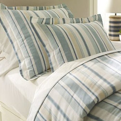 Darien Stripe Duvet Cover, King/Cal. King, Blue - Like a vintage men's shirt, our linen/cotton duvet cover and sham have a time-softened look and feel. The crisp, variegated stripes coordinate easily with many of our bedding styles, from solids to patterns. Woven from a linen/cotton blend. Yarn dyed for vibrant, lasting color. Duvet cover and sham reverse to self. Duvet cover has a hidden button closure; sham has an envelope closure. Duvet cover, sham and insert sold separately. Machine wash. Imported.
