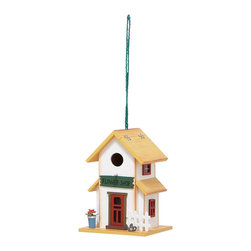 None - Wooden Flower Shop Hanging Birdhouse - Give your feathered friends a place of their very own with this hanging birdhouse. The Flower Shop birdhouse has a yellow roof, hangs from the included rope, and invites nesting birds in while keeping larger birds out.