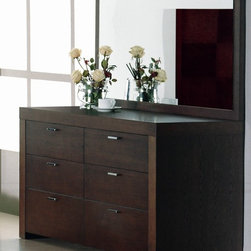 Beverly Hills Furniture - Traxler Bedroom Dresser & Mirror Set - Includes dresser and mirror. Dresser: 20 in. W x 64 in. L x 32 in. H. Dresser mirror: 7 in. W x 56 in. L x 29 in. HCrafted from carefully selected solids and veneers, the Traxler dresser set offers excellent workmanship in a contemporary package. Fully finished at the factory with upgraded auto-return tracks that offer smooth, everyday use.  The handles are trimmed with a simple metal handle to ensure an uncluttered motif.