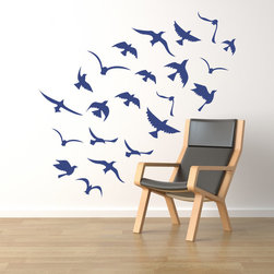 Cherry Walls - Seagulls Flock in Flight Decal - Soar to great heights with a friendly flock. Add this airy wall decal to any room to elevate the mood and let your imagination take flight. Speeding through the sky with grace and ease, these birds create a little extra breathing room on walls of books and perk up forgotten nooks and corners.