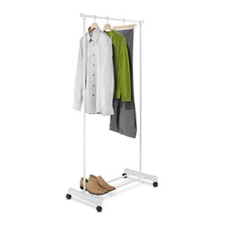 Portable Garment Rack, White - Honey-Can-Do GAR-01121 Portable Garment Rack, White. This economical garment rack is made from lightweight steel and goes from room to room on smooth rolling swivel casters. Perfect for additional clothes storage space or to hang garments to dry in the laundry room. A useful lower shelf offers additional storage space.