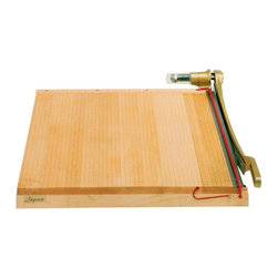 """Alvin and Company - Maple Hardwood Cutter with Self-Sharpening St - Handle standard and specialty papers with the Ingento heavy-duty paper cutter. This tabletop model is crafted in maple hardwood with a classic grid pattern and non-skid feet attachments. The self-sharpening blade is equally substantial and includes a safety bar protector. Models 8T/B and 9T/B include freestanding table bases with storage shelf and drop-leaf trim shelf. 9T/B includes foot-operated hold down bar. Features self-sharpening hardened steel blades. Cast metal handle with tension spring to secure in any position. Combines the distinctive beauty of solid maple hardwood with the durability of cast iron. Safety guard rail with handle lock. A grid that is etched into the board surface at 0.5 in. increments with ruler graduations in 1/16"""".. Desktop models shipped fully assembled. Bases require assembly.. 26 in. L x 19 in. W x 5 in. H (16 lbs.)"""