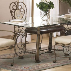 Alpine Furniture - Astoria 5-Pc Dining Set - Includes table, two arm chairs and two side chairs. Rectangular shape table. 12 mm broken edged glass top. Marbled glass tray. Metal and composite frame. Cream cushions chair fabric upholstery. Smooth rolling plastic castors. Six months warranty. Made from metal and select hardwoods. Bronzed metallic color. Seat Height: 20 in.. Arm chair: 24 in. W x 23.5 in. D x 41 in. H. Side chair: 24 in. W x 20 in. D x 41 in. H. Table: 72 in. L x 42 in. W x 30 in. H
