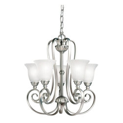 BUILDER - BUILDER Traditional Chandeliers X-IN5281 - Beautiful scrolling arms and clean finishes compliment the unique appeal of this Kichler Lighting chandelier. It features five inverted lights that are housed in clean toned distressed etched glass shades that help cast a clean, inviting light in any room. The elegant curves of the body have been highlighted by a modern Brushed Nickel finish that adds to the appeal.