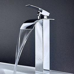 Bathroom Sink Faucets - Contemporary Brass Waterfall Bathroom Sink Faucet (Tall)