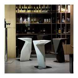 Cattelan Italia - Cattelan Italia | Casper Bar Stool - Made in Italy by Cattelan Italia.Art meets function in the futuristic sculptural architecture of the Casper Bar Stool, a token of the spirited nature of Paolo Cattelan's design. Asymmetrical geometric lines and angles give the piece an artistic character that's perfect for modern home, office and restaurant bars as well as other social, and entertaining spaces. Luxuriously soft leathers wrapped over its supple seat padding offers pure comfort, even during extended hours of sitting. Adding to the gallery-worthy persona of the stool, while offering sturdy support, are the polished stainless steel metal footrest bar and base. Personalize the look by selecting from a range of leather shades and textures.