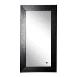 Rayne Mirrors - American Made Black Wide Leather Full Length Mirror - Full-size floor mirrors can make a dramatic statement in a small space.  Hang or lean this distinctive over sized full length mirror anywhere in your home for added character. The generous 3 inch wide frame is covered in luxurious black leather .