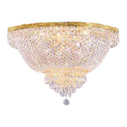 """The Gallery - FLUSH EMPIRE CRYSTAL CHANDELIER CHANDELIERS LIGHTING H 18"""" W 30"""" - 100% CRYSTAL CHANDELIER, this FLUSH Empire chandelier is characteristic of the grand chandeliers which decorated the finest Chateaux and Palaces across Europe and reflects a time of class and elegance which is sure to lend a special atmosphere in every home.Assembly Required."""