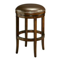 "Pastel Furniture - Pastel Naples Bay Backless Barstool - Distressed Cherry Wood - Leather Ridge - This handsomely crafted backless barstool features a quality wood frame made of distressed cherry with sturdy legs and foot rest. The padded seat is upholstered in a leather ridge offering comfort and style. Available in 26"" counter height or 30"" bar height."