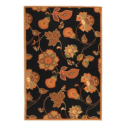Safavieh Chelsea HK209C Black - Orange Area Rug - Safavieh Chelsea HK209C Black - Orange Area Rug