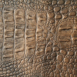 Alligator 3270 Copper Faux Leather for Upholstery and Interior Design by FFC - This sensational faux alligator leather fabric features a stunning blend of neutral shades including a copper base with a hint of black brushed throughout. Most definitely a high end fabric with a high end feel. This would be the perfect choice for an entry way piece of furniture or a piece that will be the focal point in your home or wardrobe.