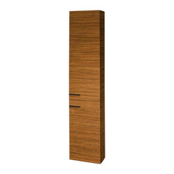 "Iotti - Tall Wall-Mounted Storage Cabinet With 2 Doors in Teak Finish - This tall storage unit by Iotti is the perfect way to add to your bathroom storage space! It is a 59"" cabinet with 2 doors, allowing you to really expand your bathroom storage."