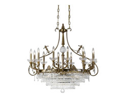 Crystorama - Oval Chandelier Accented with Hand Cut Crystal - Solid cast ornate oval chandelier accented with hand cut crystal.