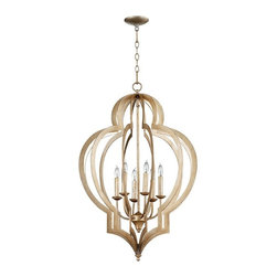 Cyan Design - Cyan Design Lighting Vertigo Chandelier, Large - The Vertigo iron chandelier wraps 6 candlestick lamps in elegant bands of iron and has a silver leaf finish. We love how it soars over a room! Large: 3 ft. high, 2 ft. diameter.