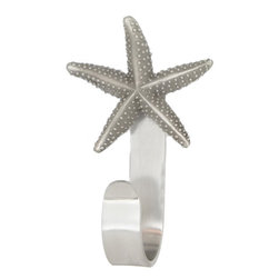 "Starfish Coat Hooks - Starfish Coat Hooks designed by Peter Costello. Cast in fine pewter, mounted on a custom made aluminum hook. Approximately  5.5"" tall. Available in custom powder coat colors and shiny chrome."