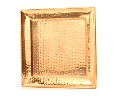 """Old Dutch International - 11"""" Square Decor Copper Hammered Tray - Serve in style with this sleek, handmade copper hammered tray. This square gem will look amazing with any decor, and would work equally well as a serving tray and as a display item."""