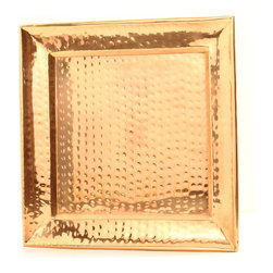 "Old Dutch International - 11"" Square Decor Copper Hammered Tray - Serve in style with this sleek, handmade copper hammered tray. This square gem will look amazing with any decor, and would work equally well as a serving tray and as a display item."
