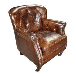 NOIR - NOIR Furniture - Club Chair in Vintage Cigar Leather - LEA963 - Features: