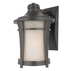 Quoizel - Quoizel HY8409IB Harmony 150W Transitional Outdoor Wall Sconce - This clean design has minimal ornamentation and pure lines, giving it a peaceful, Zen-like appeal. The soft glow and texture of the linen glass add a special warmth to the exterior of your home.