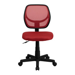 Flash Furniture - Mid-Back Red Mesh Task Chair and Computer Chair - This ventilated mesh computer chair will give you the comfort you desire throughout the day. If you are looking for a sleek, functional chair for your work or home office, a mesh office chair may be right for you. Chair features a breathable mesh back with a comfortably padded mesh seat that easily adjusts.