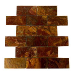 """Marbleville - Red Onyx 2"""" x 4"""" Polished Brick Pattern Mesh-Mounted Marble Mosaic  in 12"""" x 12"""" - Premium Grade Red Onyx 2"""" x 4"""" Polished Mesh-Mounted Marble Mosaic is a splendid Tile to add to your decor. Its aesthetically pleasing look can add great value to the any ambience. This Mosaic Tile is constructed from durable, selected natural stone Marble material. The tile is manufactured to a high standard, each tile is hand selected to ensure quality. It is perfect for any interior/exterior projects such as kitchen backsplash, bathroom flooring, shower surround, countertop, dining room, entryway, corridor, balcony, spa, pool, fountain, etc."""