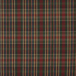 Red, Green Gold And Blue, Textured Plaid Upholstery Grade Fabric By The Yard - Textured timeless plaids and stripes are excellent for all indoor upholstery.
