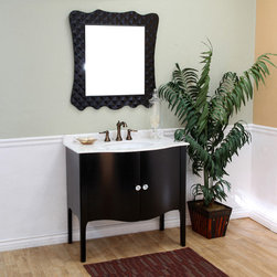 Bellaterrra - Bellaterra 203037 36.6 In Single Sink Vanity-Wood-Black -White Marble - 36.6x22x - Bellaterra 203037 36.6 In Single Sink Vanity-Wood-Black -White Marble  - 36.6x22x36 in.