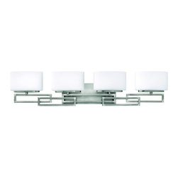 """Hinkley - Hinkley-5104-Lanza - Four Light Bath Fixture - 34"""" wide Lanza family bathroom vanity light in Antique Nickel finish. The geometric patterned detailing makes this a transition piece that would be viable in multiple stylings. The mounting hardware is hidden on the back plate.  Includes (4) 60W G9 Halogen bulbs.  Antique Nickel Finish with Etched Opal Glass  Lamp Quantity: 4  Lamp Type: Halogen  Wattage: 60  Voltage: 120  Bulbs Included: Yes"""